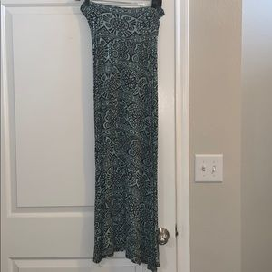 Blue and black pattern maxi skirt
